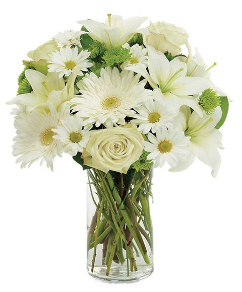 Mazzo Di Fiori Bianchi.Bouquet Di Fiori Tutti Bianchi Con Rose E Margherite Verde
